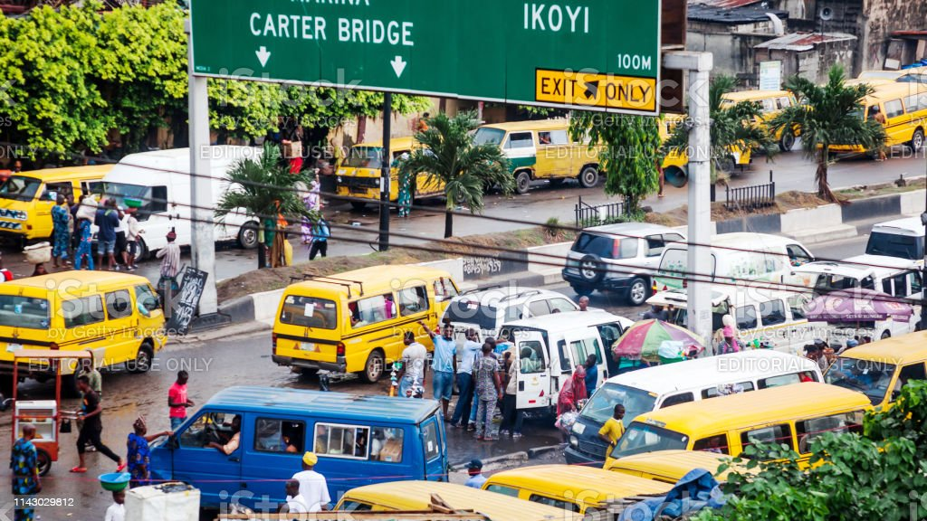Busy African city - Lagos, Nigeria stock photo