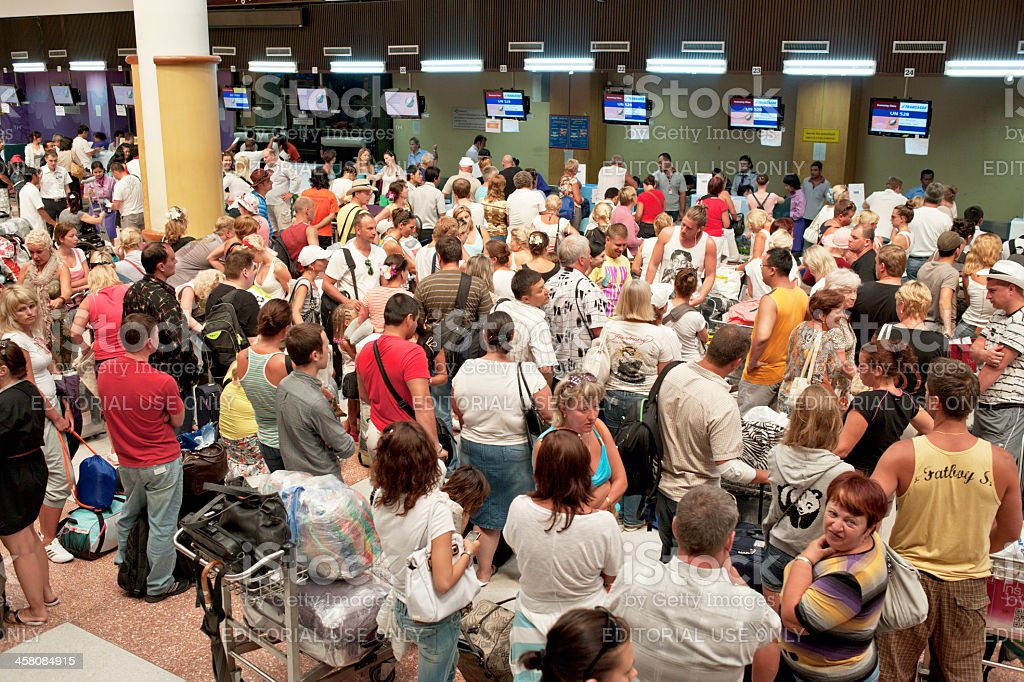 Busy Airport Check In stock photo