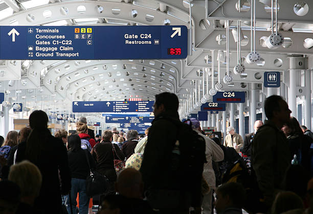 Busy Airport Concourse stock photo