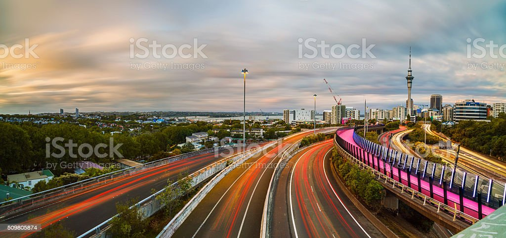 Busy Auckland traffic ... stock photo