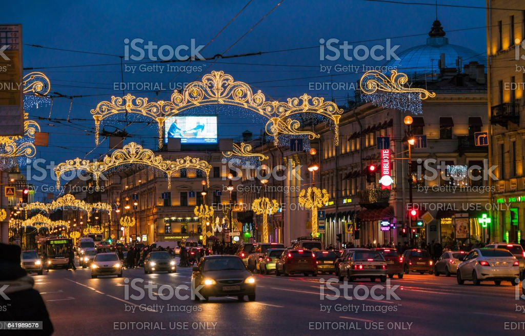 SAINT PETERSBURG, RUSSIA - DECEMBER 25, 2016:  Busy automobile traffic on Nevsky prospect royalty-free stock photo