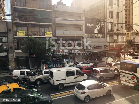 Buenos Aires, Argentina - February 18, 2020: Traffic jam with lots of cars in Corrientes avenue. The amount of cars moving around the city never stops rising