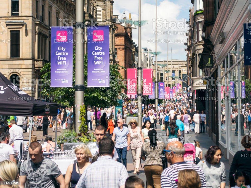 Busy Buchanan Street in central Glasgow, Scotland stock photo