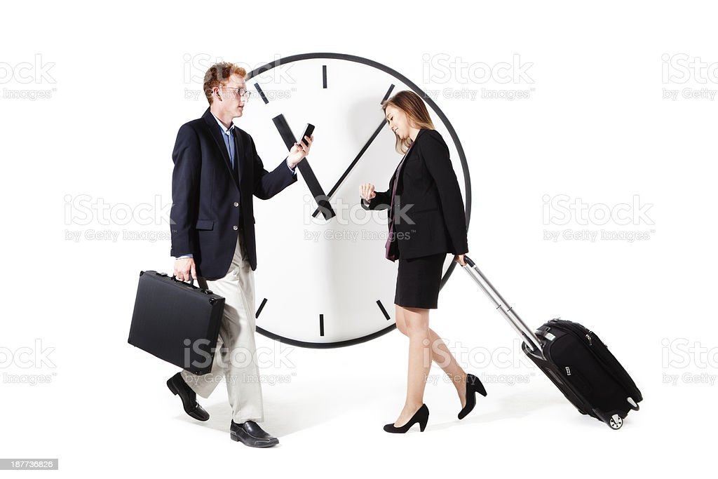 Busy Business Travelers Rushing for Flight Schedule and Time royalty-free stock photo