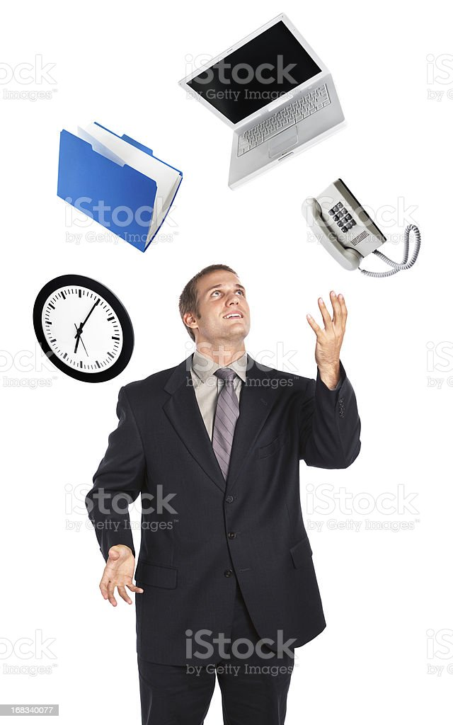 Busy Businessman Juggling Business Time Multi-Tasking on White Background royalty-free stock photo