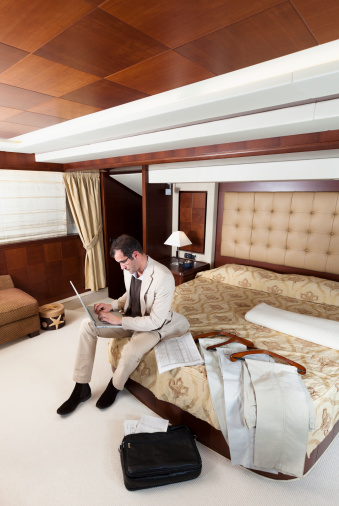 Hotel Room Photography: Busy Businessman Reading Emails On Laptop Luxurious Hotel