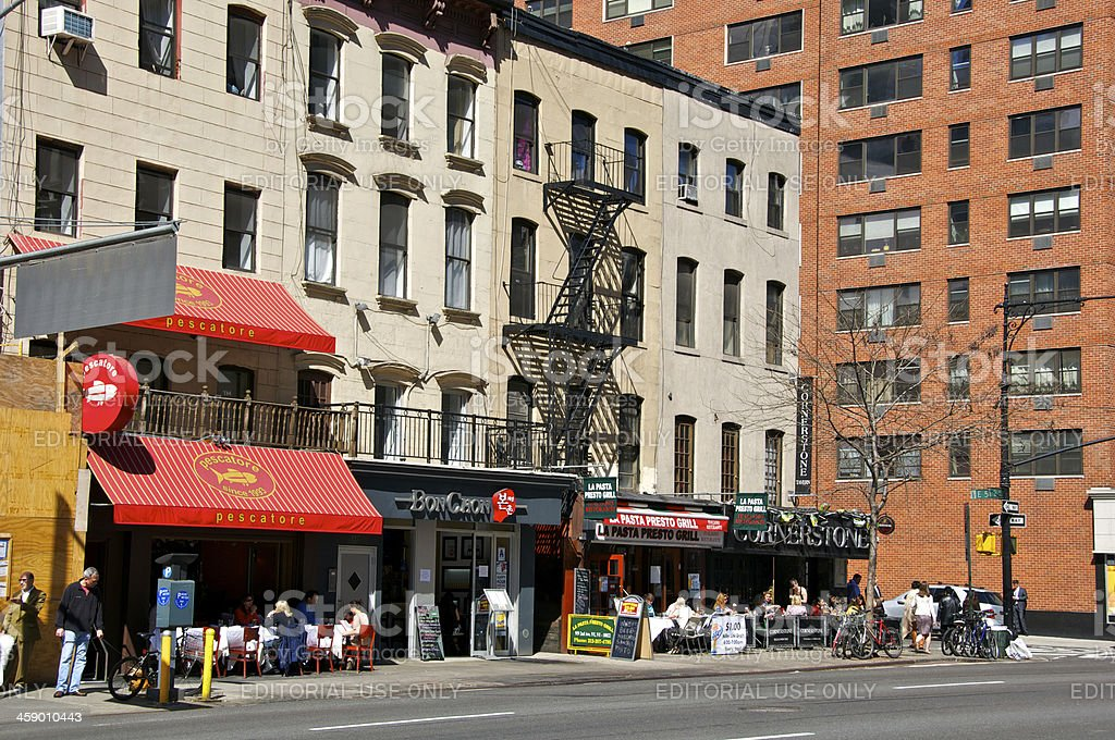 Busy cafes scene, Upper East Side, Manhattan, New York City royalty-free stock photo