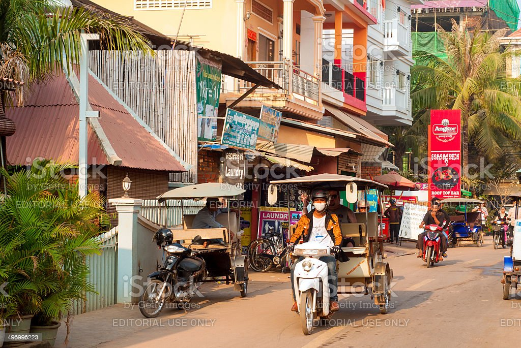 Busy Cambodian morning stock photo