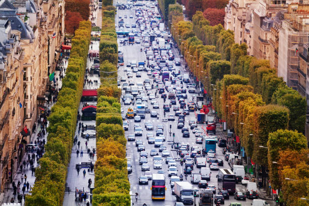 Busy Champs-Elysees from above with traffic jam stock photo