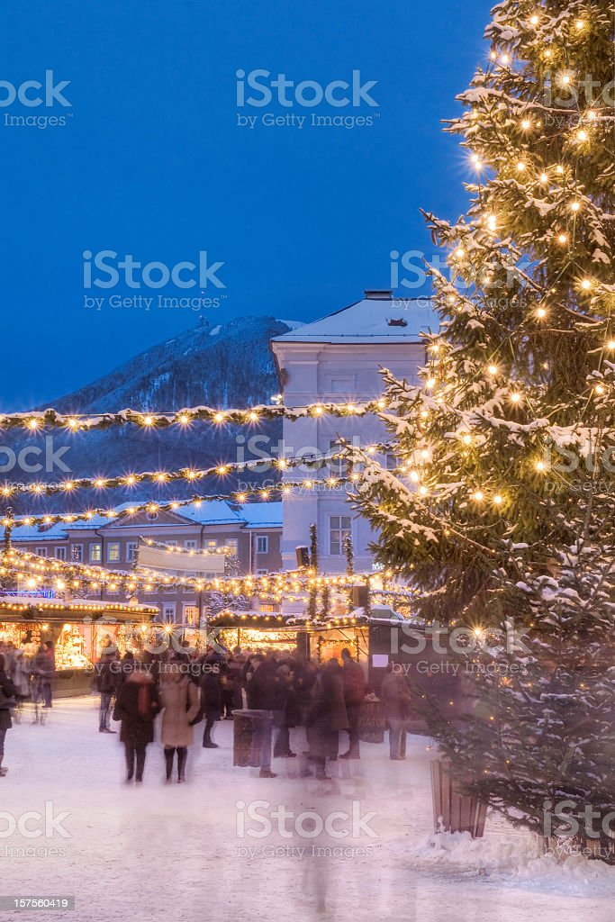 Busy Christmas Market in Europe royalty-free stock photo