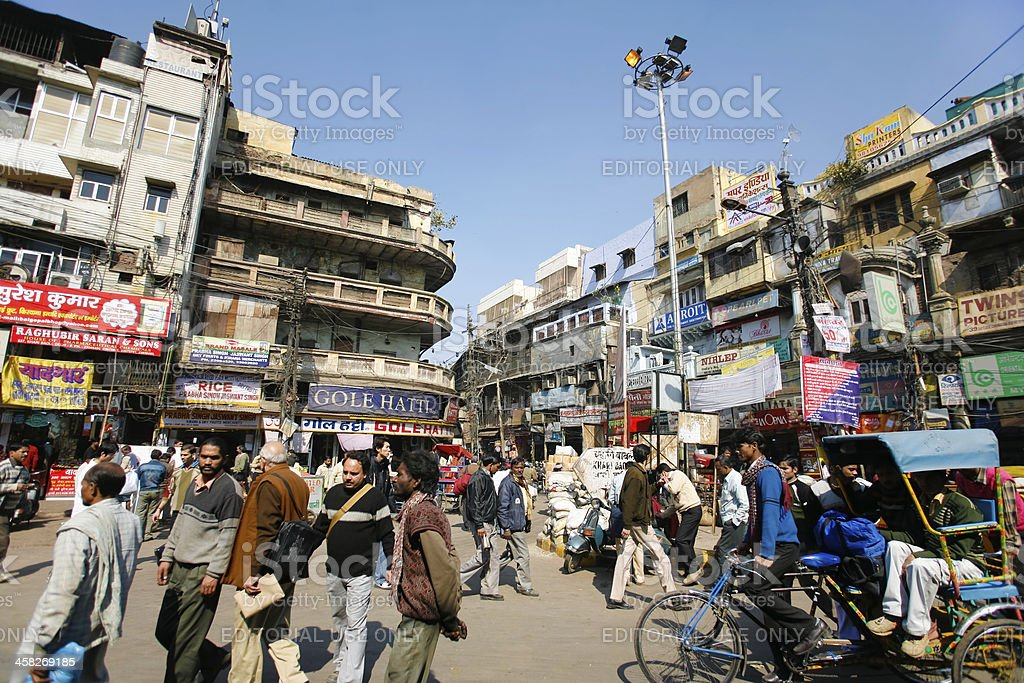 Busy city street in delhi, india royalty-free stock photo