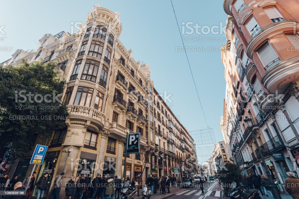 busy city streets of Madrid stock photo