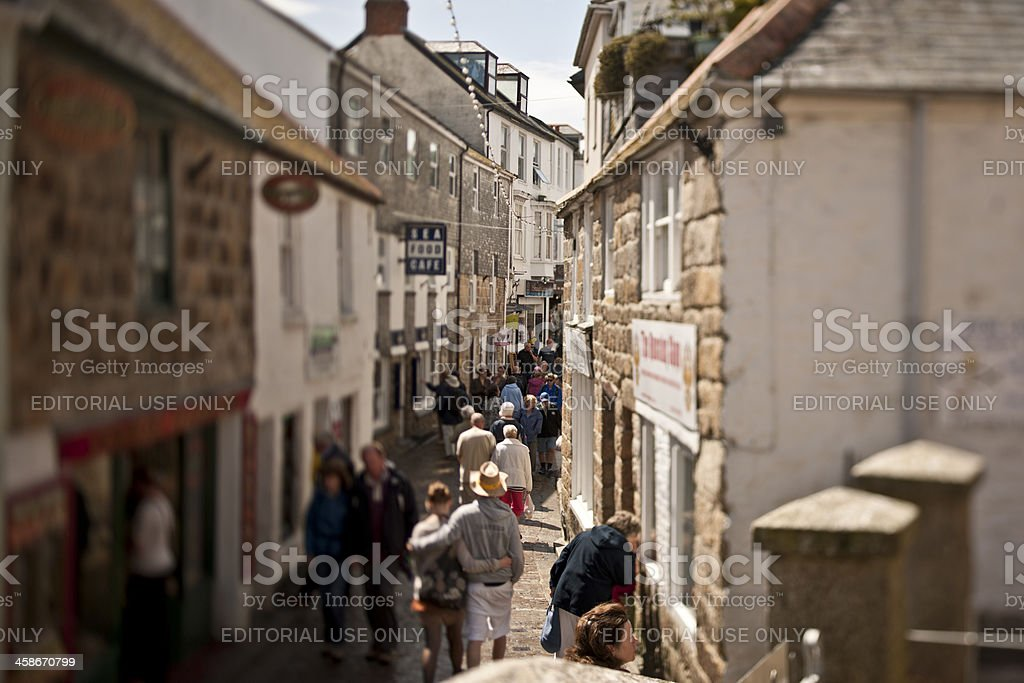busy cobbled street in ST Ives Cornwall stock photo