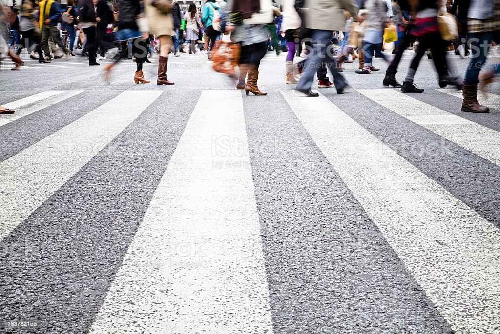 Busy crosswalk at Shibuya Crossing, Tokyo, Japan stock photo