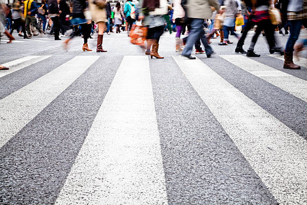 Busy crosswalk at Shibuya Crossing, Tokyo, Japan stock photo