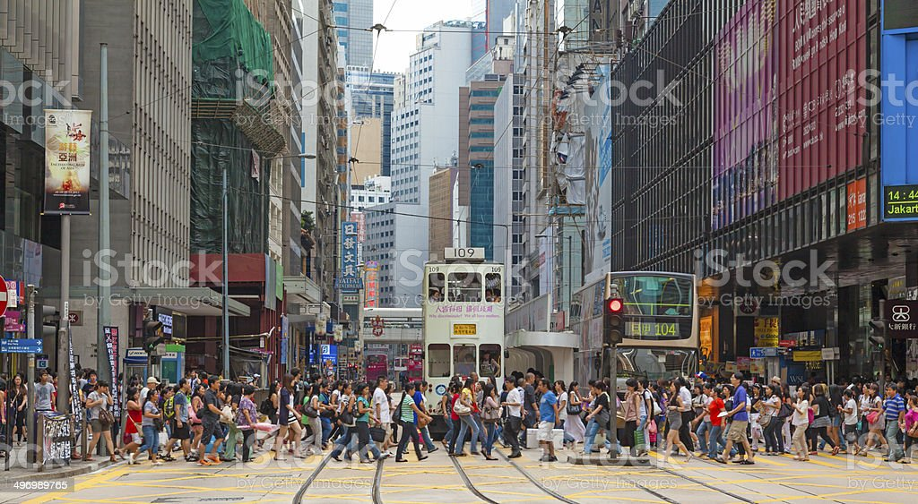 Busy crosswalk in Central, Hong Kong Busy crosswalk in Central, Hong Kong Asia Stock Photo