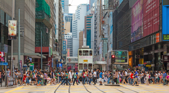 Busy Crosswalk In Central Hong Kong Stock Photo - Download Image Now