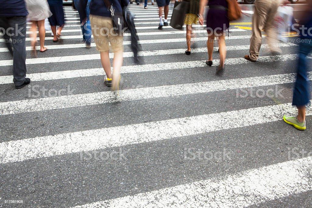 Busy Crosswalk Mid Town, Manhattan stock photo