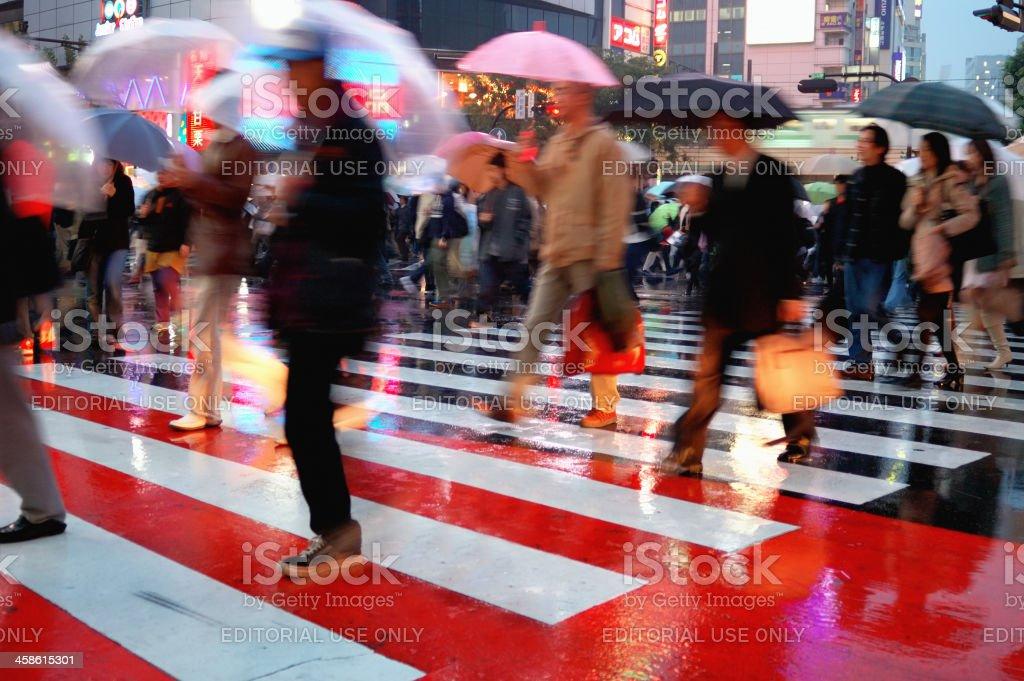 Busy crosswalk scene in Shibuya, Tokyo royalty-free stock photo