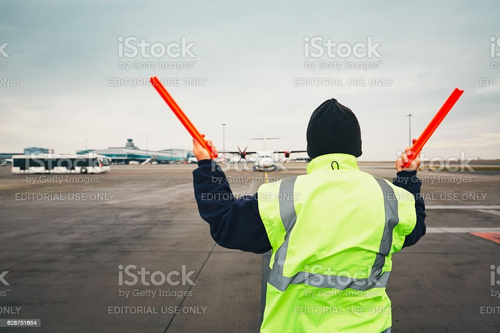 Busy day at the airport stock photo