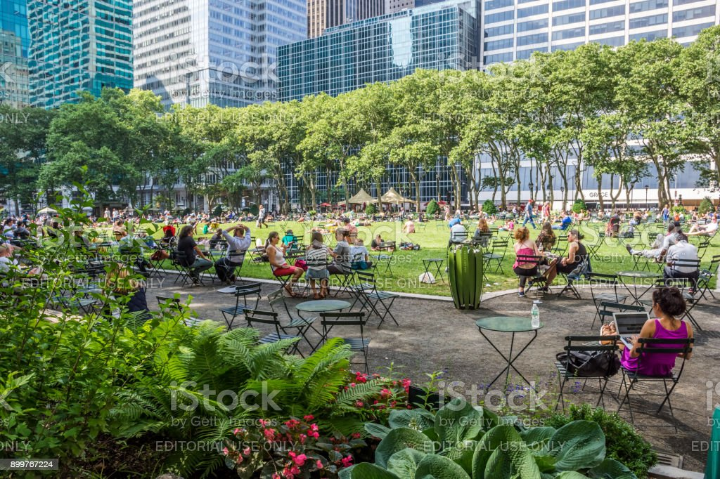 Busy Day Bryant Park stock photo
