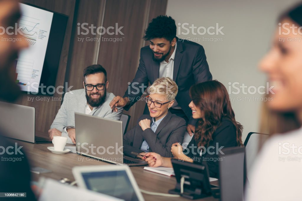 Busy day in an office stock photo