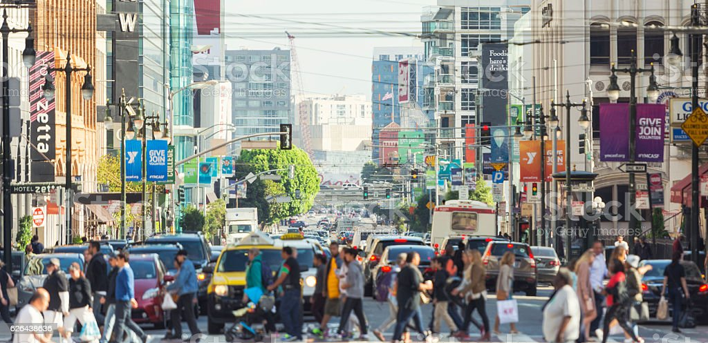 Busy day on 5th Street San Franciso royalty-free stock photo
