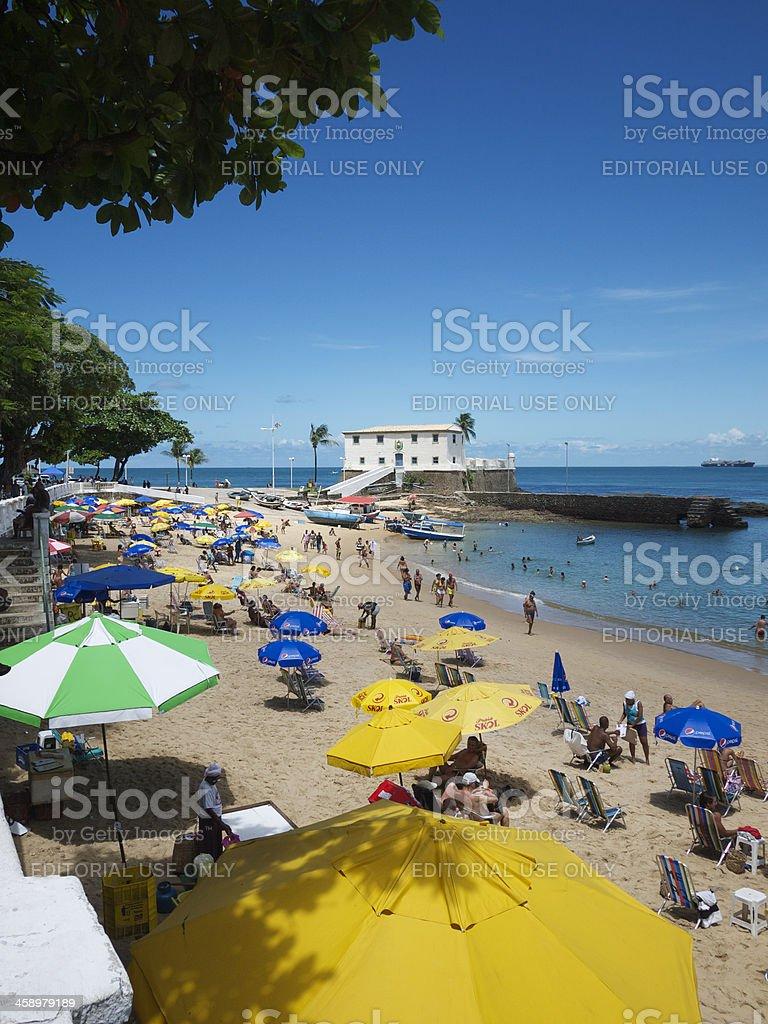 Busy Day on Porto da Barra Beach Salvador Brazil royalty-free stock photo