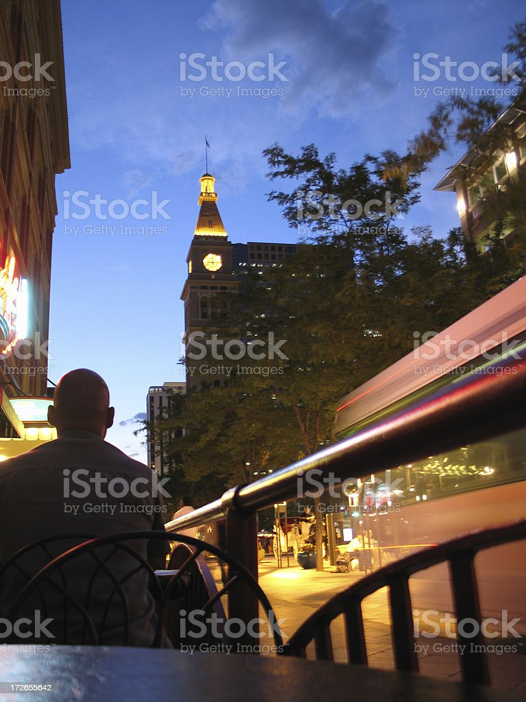 Busy downtown Denver at night royalty-free stock photo