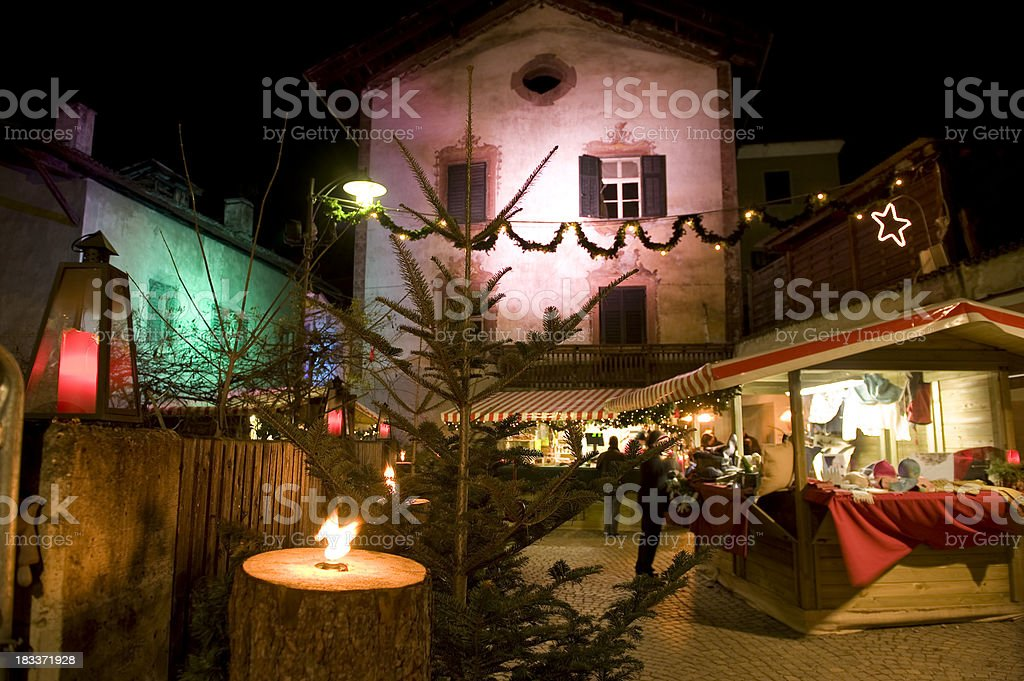 Busy evening at the Christmas Market royalty-free stock photo