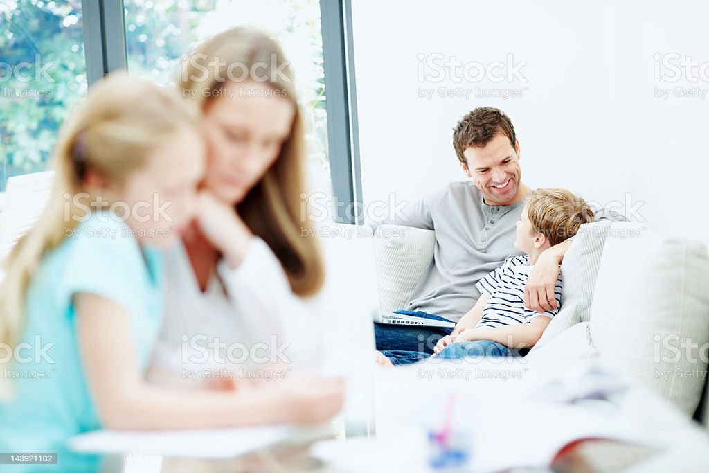Busy family royalty-free stock photo