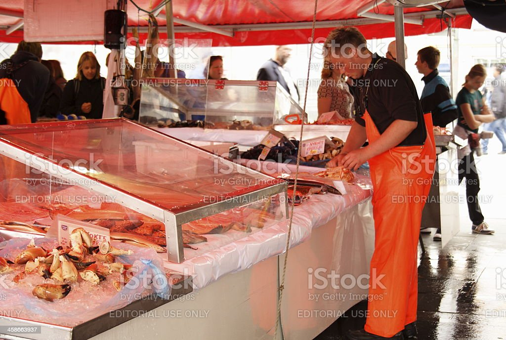 Busy fish market in Bergen, Norway stock photo