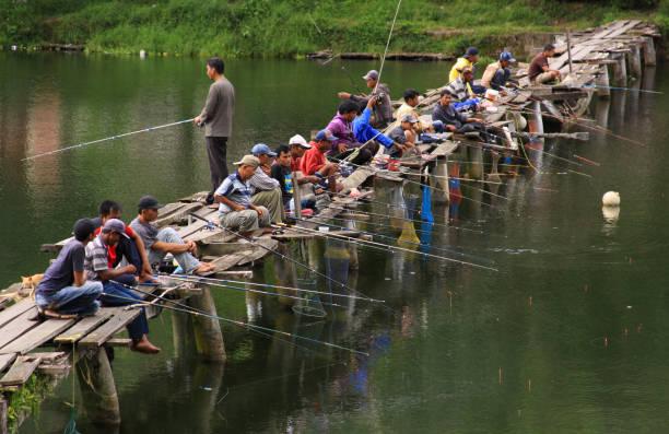 Busy fishing pond crowded with fishermen, Sumatra stock photo