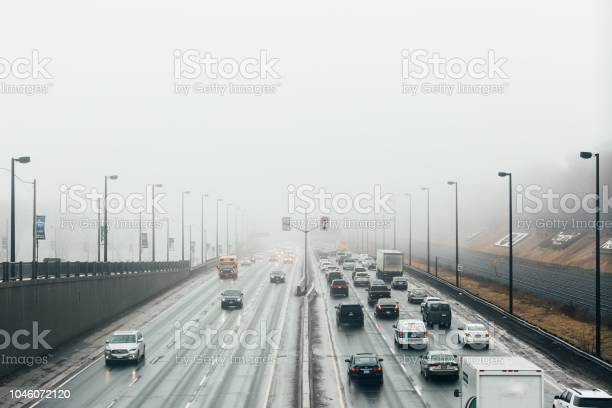 Photo of Busy Freeway In The Fog Photo