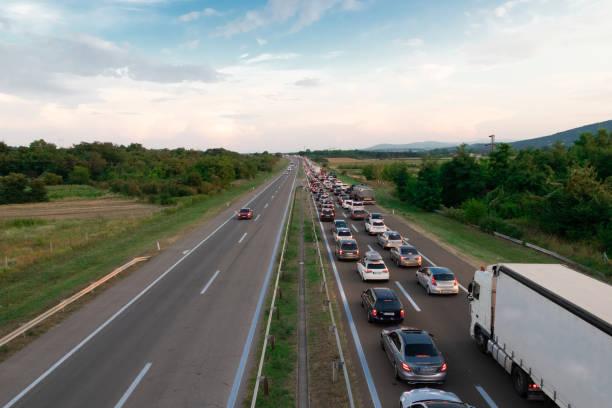 Busy freeway stock photo