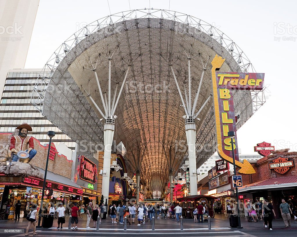 Busy Fremont Street stock photo