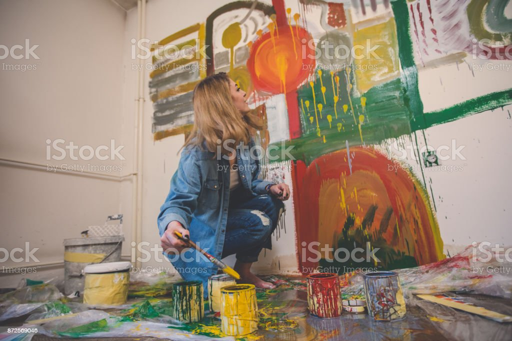 Busy Girl Painting Alone Stock Photo Download Image Now