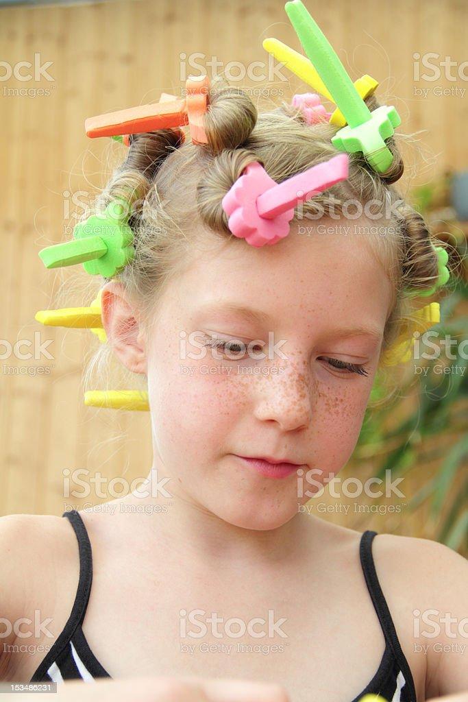 busy girl stock photo