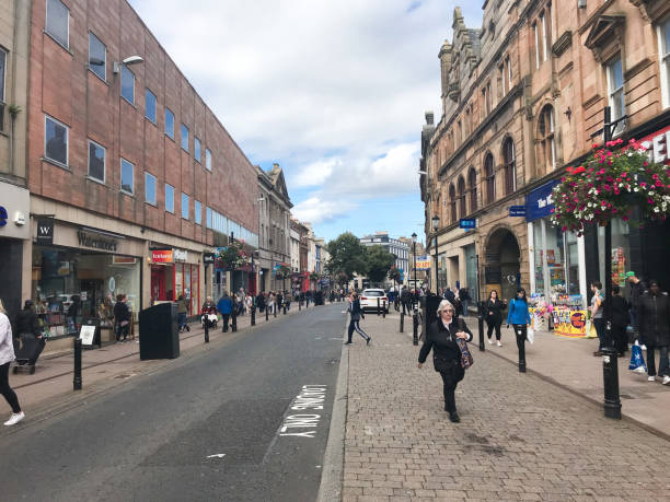 A Busy High Street Ayr Scotland with People Shopping stock photo
