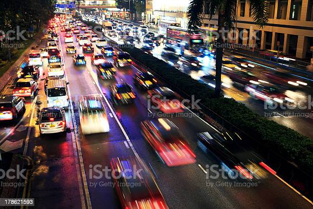 Busy Highway At Night Stock Photo - Download Image Now