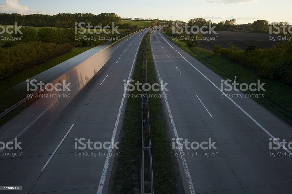 Busy Highway at Sunset stock photo
