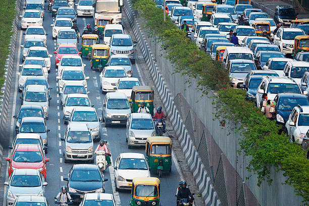 Busy highway in Delhi, India