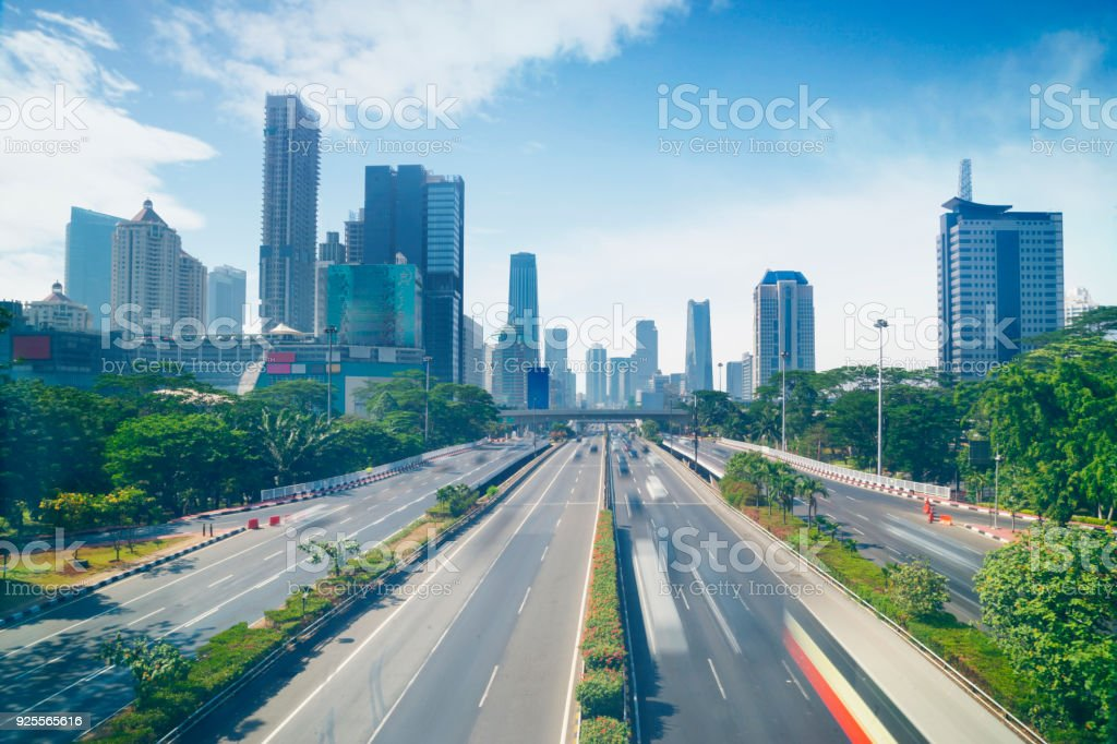 Busy highway in the Jakarta downtown stock photo