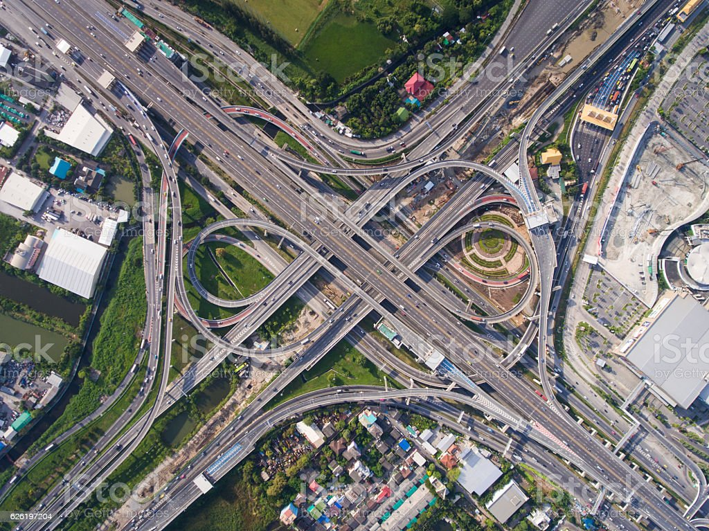 Busy highway junction from aerial view royalty-free stock photo