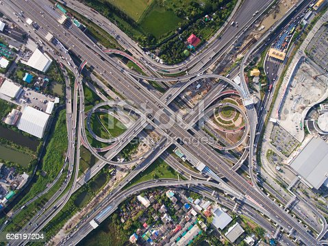 istock Busy highway junction from aerial view 626197204