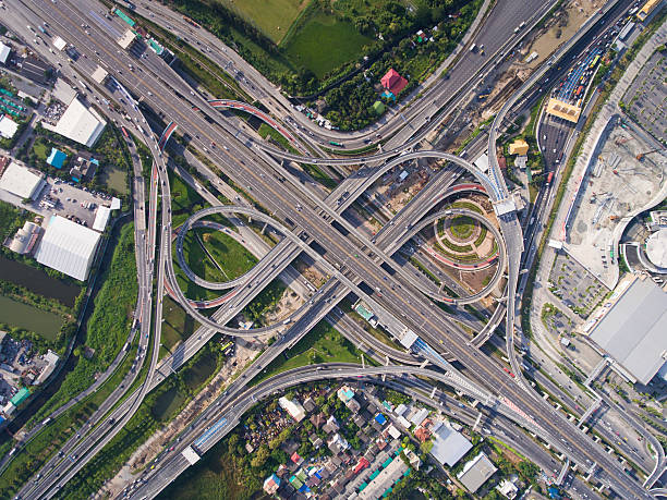 Busy highway junction from aerial view - Photo