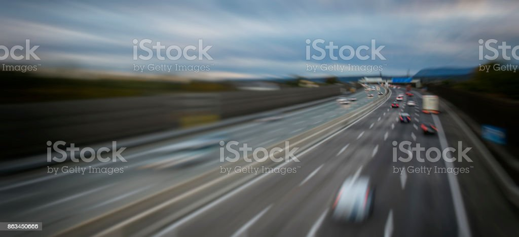 busy highway traffic stock photo