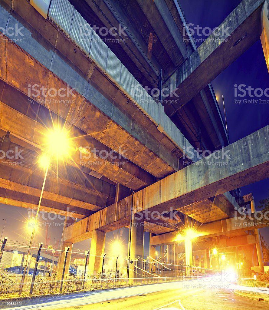 busy highway train traffic night in finance urban royalty-free stock photo