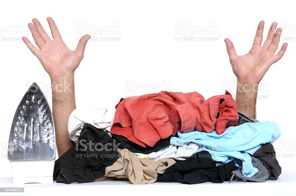 Busy House Husband Hands Raised and Clothes to Iron royalty-free stock photo