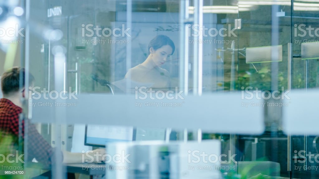 Busy International Office, Beautiful Caucasian Woman Walks Through Glass Hallway with Stack of Documents, in the Background Diverse Group of Creative Colleagues Working. zbiór zdjęć royalty-free